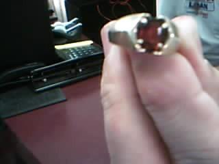 Almandite Garnet Lady's Stone Ring 10K Yellow Gold 3.15g