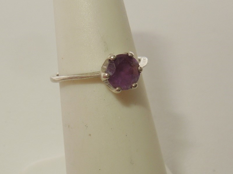 Synthetic Amethyst Lady's Silver & Stone Ring 925 Silver 1.4g Size:5