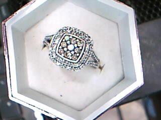 Lady's Silver-Diamond Ring 118 Diamonds 1.36 Carat T.W. 925 Silver 3.74g