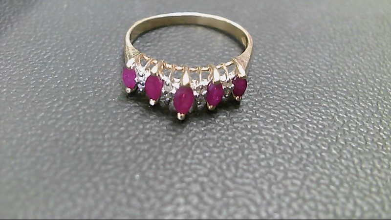 Ruby Lady's Stone & Diamond Ring 8 Diamonds .08 Carat T.W. 14K Yellow Gold 2.4g