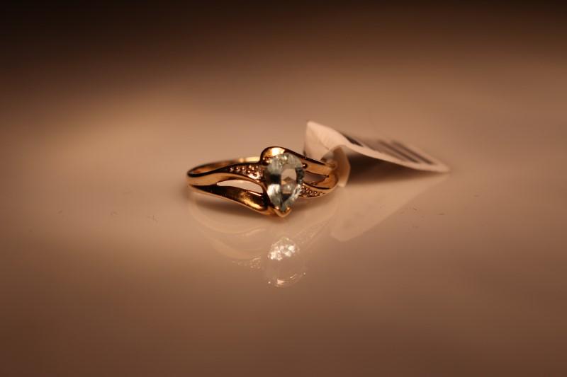 White Stone Lady's Stone & Diamond Ring 2 Diamonds .02 Carat T.W.