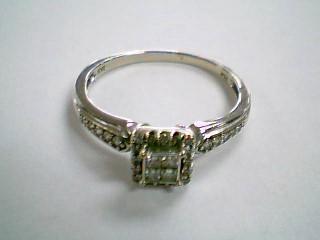Lady's Gold-Diamond Anniversary Ring 28 Diamonds .37 Carat T.W. 10K White Gold