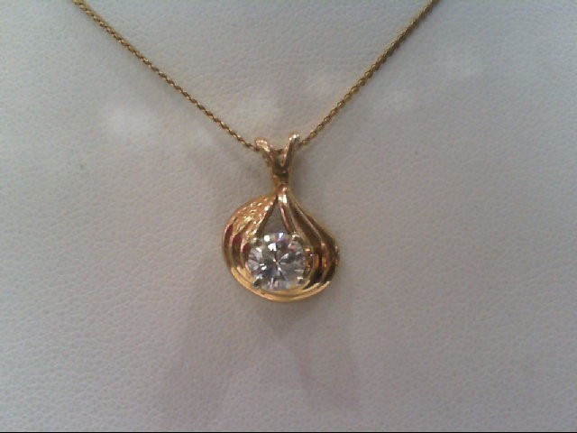 Gold-Diamond Solitaire Pendant .54 CT. 14K Yellow Gold 3g