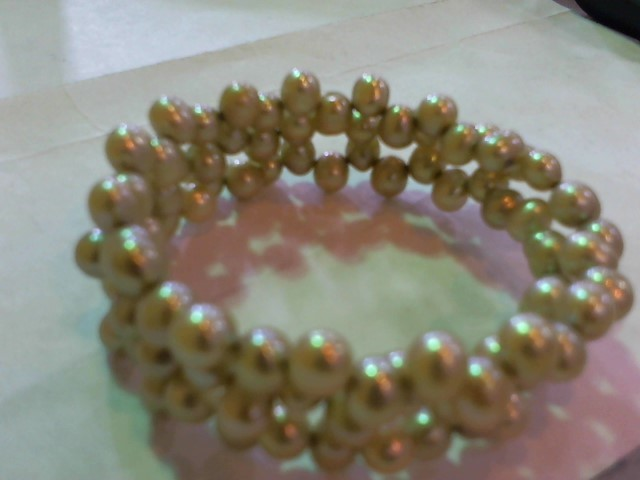 Synthetic Pearl Strand Silver-Stone Bracelet 925 Silver 1g