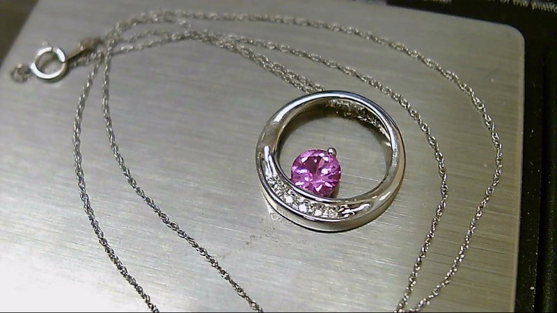 Pink Stone Diamond & Stone Necklace 6 Diamonds .06 Carat T.W. 10K White Gold