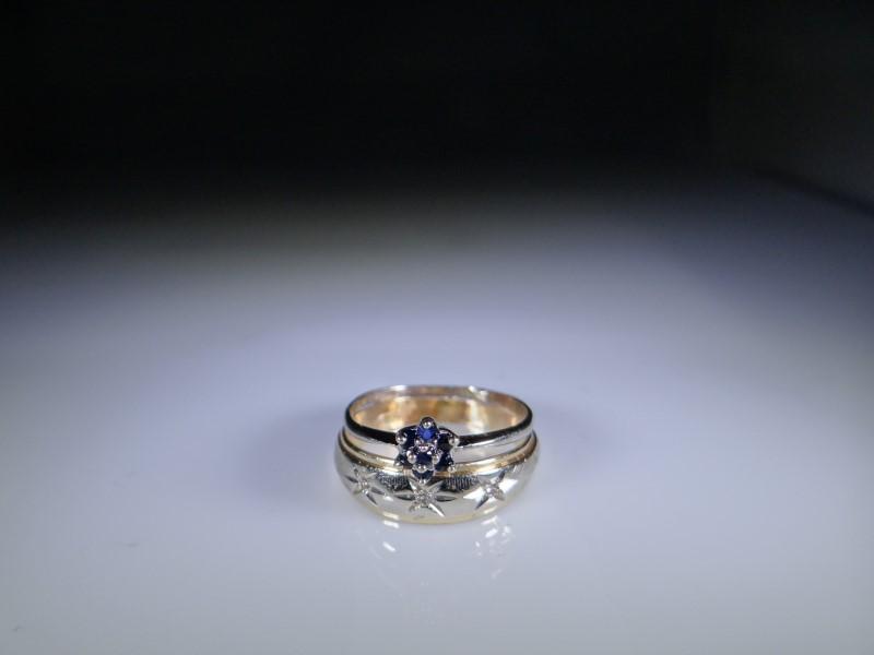 Blue Stone Lady's Stone & Diamond Ring 3 Diamonds .015 Carat T.W.