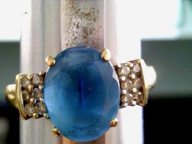 L'S 14KT Aquamarine Lady's Stone & Diamond Ring BLUE STONE(S)