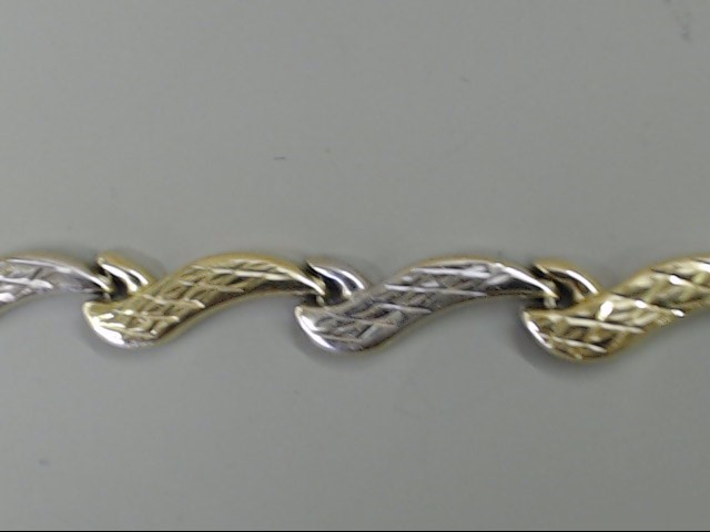 ESTATE WAVE LINK BRACELET REAL 10K 2 TONE GOLD WHITE YELLOW 2.9g 7""