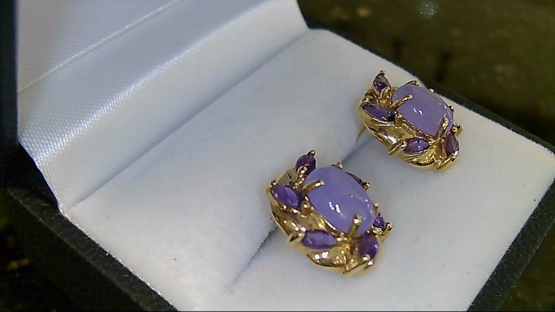 Lady's 14k yellow gold oval lavender jade with marquise amethyst earrings