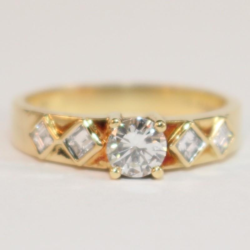 Unique 18K Y/G Round Brilliant & Princess Cut Diamond Ring Size 7