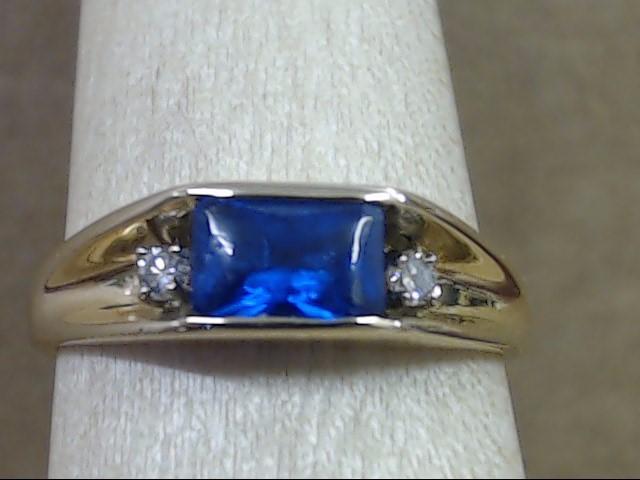 DIAMOND & SIDE SET RADIANT CUT BLUE STONE RING BAND 14K GOLD SZ 6.5