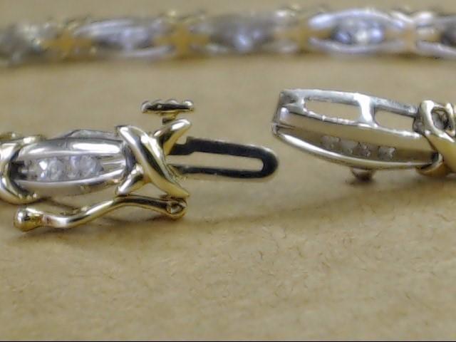 "VINTAGE DIAMOND LINK TENNIS BRACELET 10K WHITE GOLD 2 TONE 9.9g 7"""