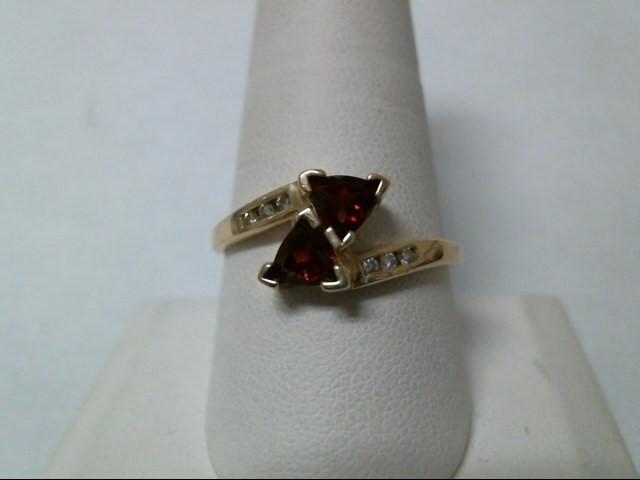 Red Stone Lady's Stone & Diamond Ring 6 Diamonds .12 Carat T.W. 10K Yellow Gold