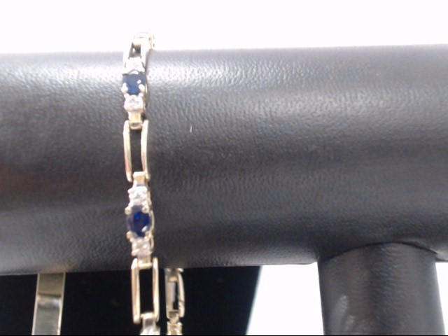 Synthetic Sapphire Gold-Diamond & Stone Bracelet 20 Diamonds .20 Carat T.W.