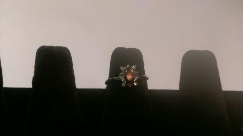 Lady's Brown Stone & Diamond Ring 10 Diamonds .10 Carat T.W.