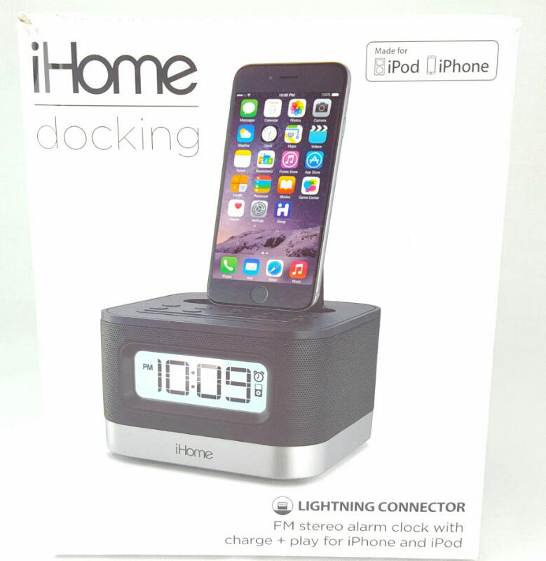 iHOME IPL8BN Speaker System with Lightning Connector Dock and Alarm