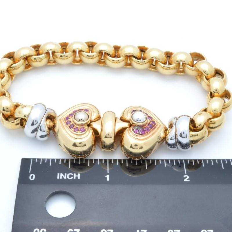 "ESTATE SOLID 18K GOLD RUBY HEART ROLO LINK BRACELET HEAVY 43.5g 8"""