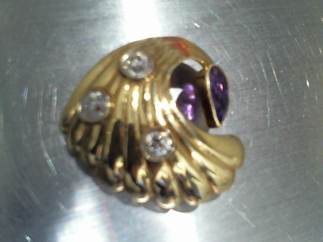 Amethyst Gold-Diamond-Stone Brooch 3 Diamonds .75 Carat T.W. 14K Yellow Gold 7g