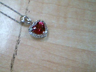 Red Stone Stone Necklace 925 Silver 3g
