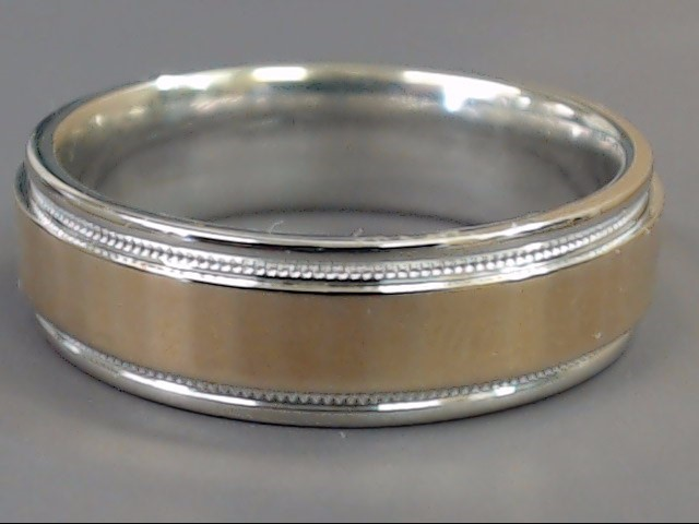 ESTATE TWO TONE 6.5MM WEDDING RING BAND SOLID 10K GOLD 7.8g SZ 9.75