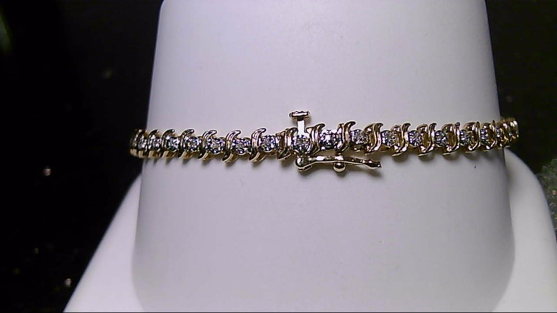 Gold-Diamond Bracelet 47 Diamonds .47 Carat T.W. 10K Yellow Gold 6.15g
