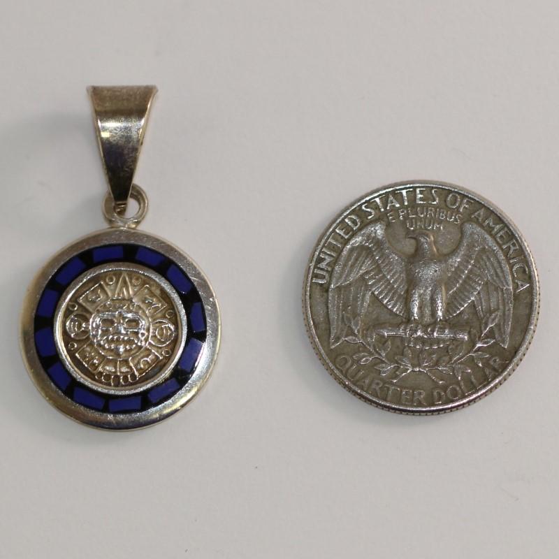 Sterling Silver Blue Stone Aztec Pendant