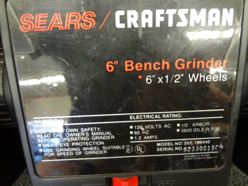 "CRAFTSMAN 257.190440 6"" BENCH GRINDER CORDED"
