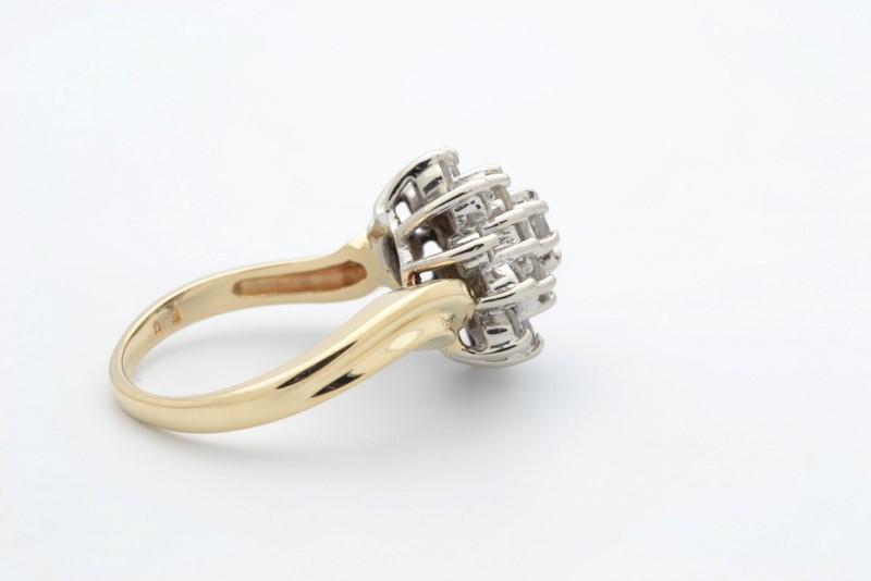 ESTATE DIAMOND CLUSTER RING SOLID 14K GOLD COCKTAIL DINNER SIZE 6.25