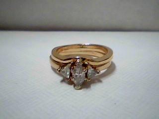 Lady's Diamond Wedding Set 3 Diamonds .45 Carat T.W. 14K Yellow Gold 3.8g