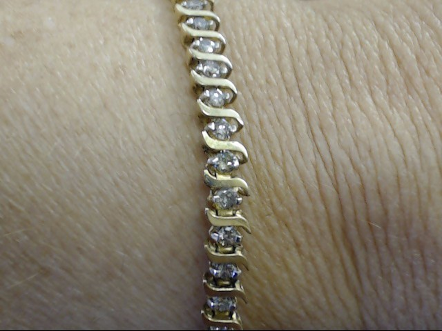 VINTAGE 49 NATURAL DIAMOND TENNIS BRACELET SOLID REAL 10K GOLD 9g 7""