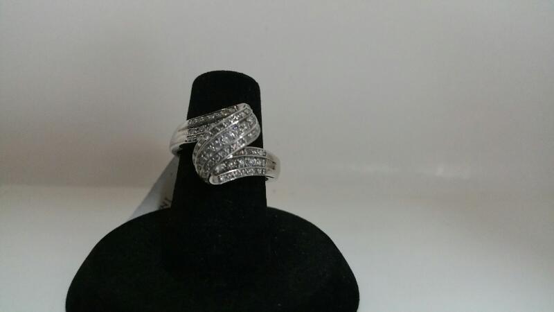 DIAMOND Lady's Diamond Cluster Ring 50 Diamonds .50 Carat T.W. 14K White Gold