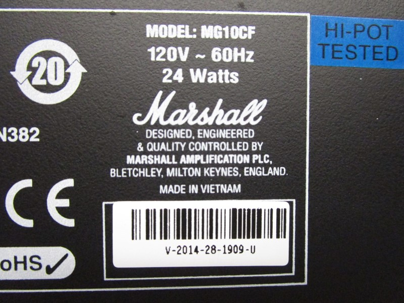 MARSHALL MG10CF GUITAR AMPLIFIER, 10 WATTS, MINT CONDITION