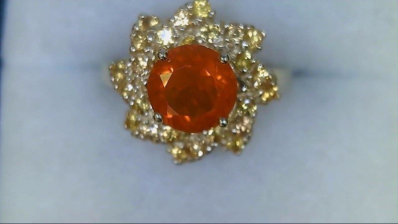 Lady's 10k yellow gold round mexican opal , round citrine ring