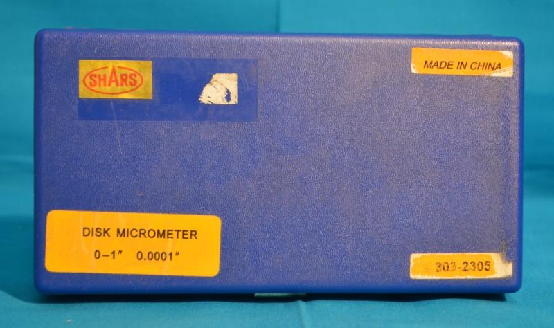 "SHARS Disk Micrometer 0-1"" 0.0001"" w/Case"