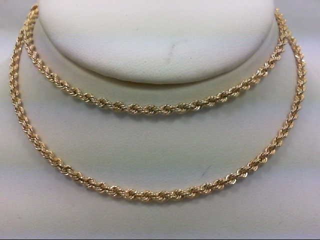 "22"" Gold Rope Chain 14K Yellow Gold 16.6g"