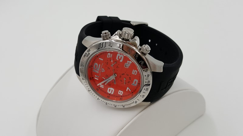 Men's Orange Dial Swiss Legend Eograph Chronograph Stainless Watch