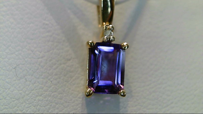 Amethyst Gold-Diamond & Stone Pendant .01 CT. 10K Yellow Gold 0.9g