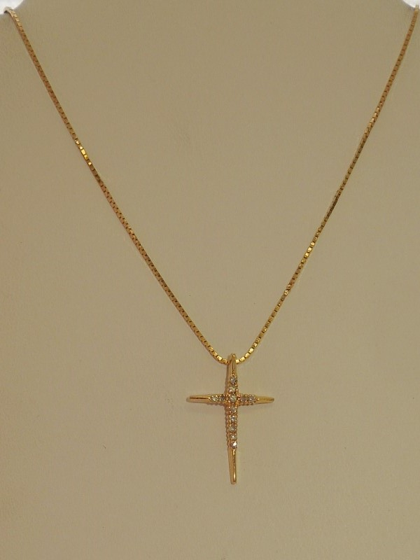 Diamond Necklace 12 Diamonds .12 Carat T.W. 14K Yellow Gold 3.1g
