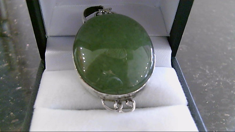 Large Oval Cut Jade Stone Silver Pendant 925 13.4g