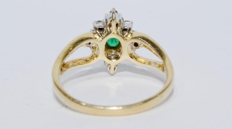 14K Yellow Gold Triple Split Shank Emerald & Diamond Shield Ring sz 6.75