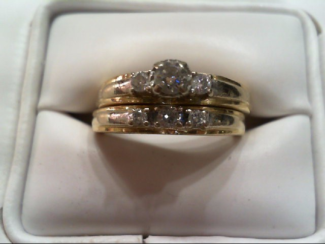 Lady's Diamond Wedding Set 6 Diamonds .36 Carat T.W. 14K Yellow Gold 6.4g