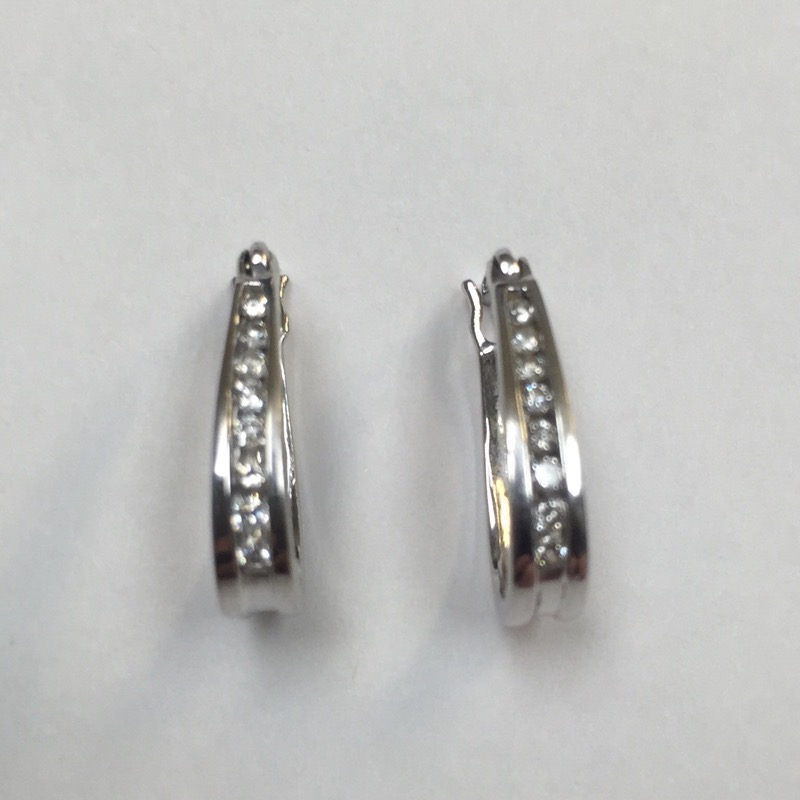 Gold-Diamond Earrings 16 Diamonds .16 Carat T.W. 14K White Gold 1.5dwt