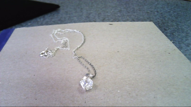 White Stone Stone Necklace 925 Silver 1.5g