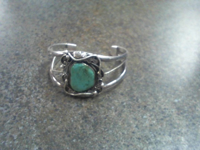 Synthetic Turquoise Silver-Stone Bracelet 925 Silver 33.3g