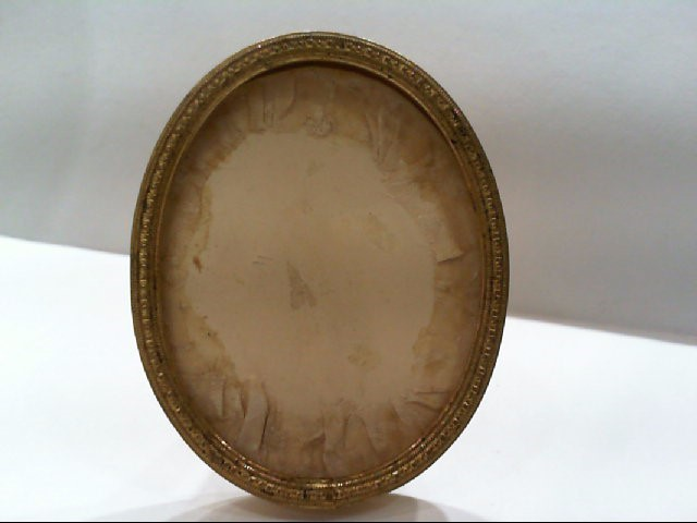 VINTAGE YELLOW GOLD COLORED OVAL 2 3/4 X 2 1/4 INCH FRAME