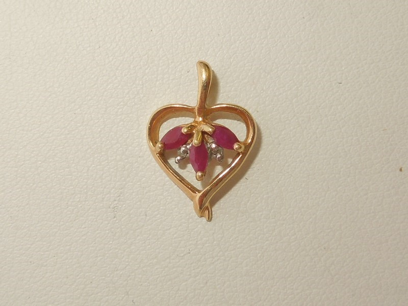 Synthetic Ruby Gold-Stone Pendant 10K Yellow Gold 0.9g