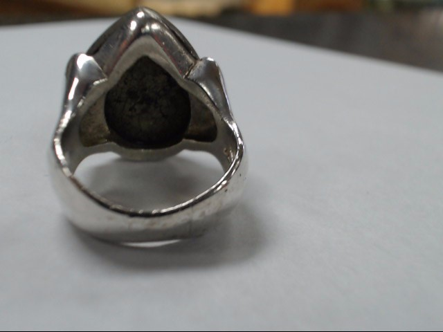 .925 gents 6.5 sz ring with pear shaped pyrite stone center