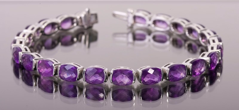 Amethyst Bracelet 14K White Gold 15.5g 7 inches
