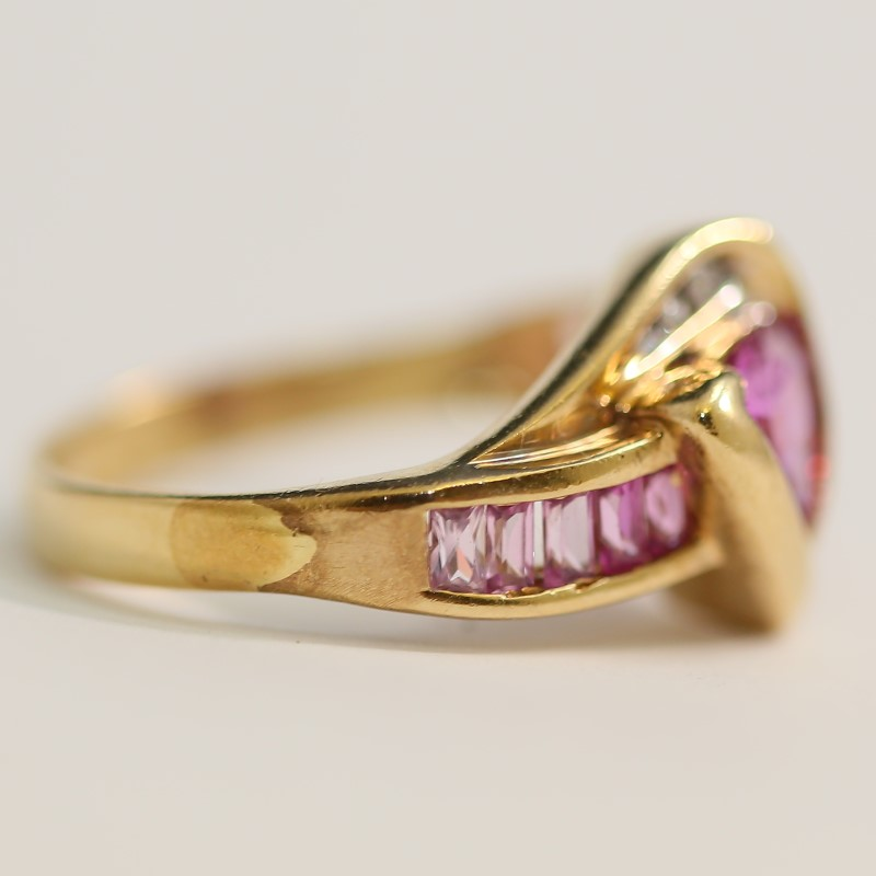 10K Yellow Gold Triangular Cut Pink Stone and Diamond Ring Size 7.5