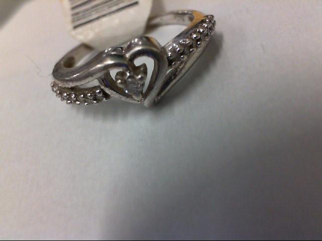 Lady's Silver-Diamond Ring 15 Diamonds .45 Carat T.W. 925 Silver 1.7g